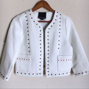 Harlowe & Graham Studded Cream Linen Jacket